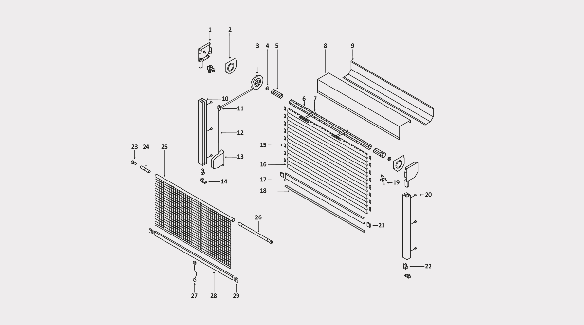 vorbaurollladen 45 mit integriertem insektenschutz rojaflex. Black Bedroom Furniture Sets. Home Design Ideas