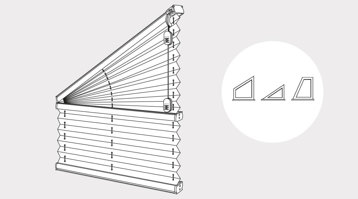 Rollo Giebelfenster schräge giebelfenster freihängend rojaflex